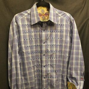 Robert Graham Men's Blue Plaid Dress Shirt M